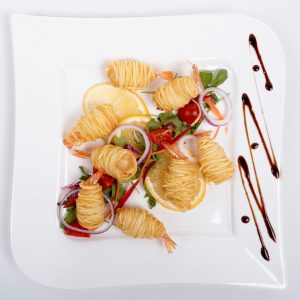 Creveti in cuib de cartofi (200 g)