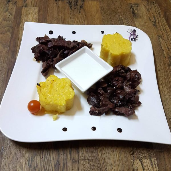 Grilled lamb pastrami with polenta (300 g)